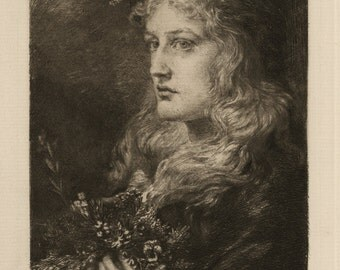 "ANNA LEA MERRITT (American, 1844-1930, ""Ophilia"", 1880, original etching"