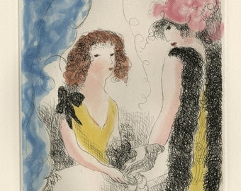 "MARIE LAURENCIN (French, 1885-1956), ""Frivolites"", 1926, original color etching."