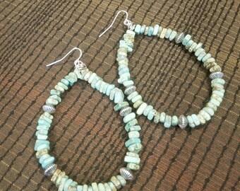 Magnesite Wire Hoop Earrings
