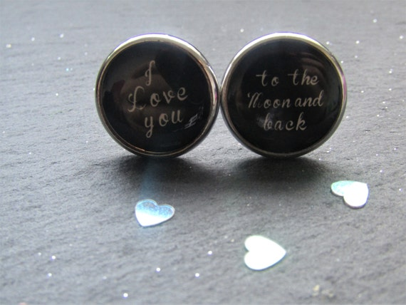 I Love You to the Moon and Back Cuff Links, Black Cuff Links, Valentine Gift, Love cuff links, Gift for him, Wedding Cuff links, Cuff Links