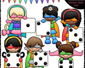 Superhero Dice Girls Clip Art and B&W Set