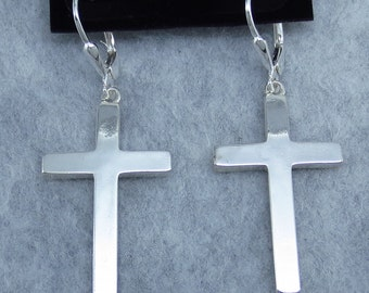 "1-3/4"" Cross Leverback Earrings Sterling Silver 201310"