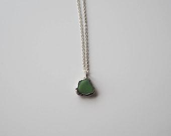 Unique Green Sea Glass Pendant. Genuine English Sea Glass Jewellery. Green Sea Glass and Silver Necklace.  Unique Sea Glass Necklace.