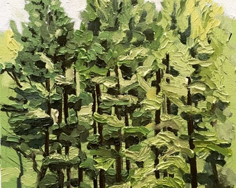 "Original fine art, wall decor, oil on canvas, oil painting: Pine trees 14""x11"""