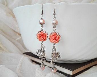 Pearl Earrings, Romantic Earrings, Cluster Earrings, Dangle Earrings, Chandelier Earrings, Flower Earrings, Long Earrings, Boho Earrings
