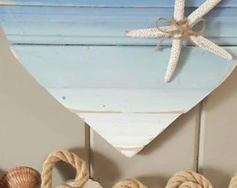 "13""×16"" Beach Style Wood Heart Ready to hang, Beach House, Beach Decor, Coastal living, Coastal decor, Heart, Wood Heart, Reclaimed Wood"