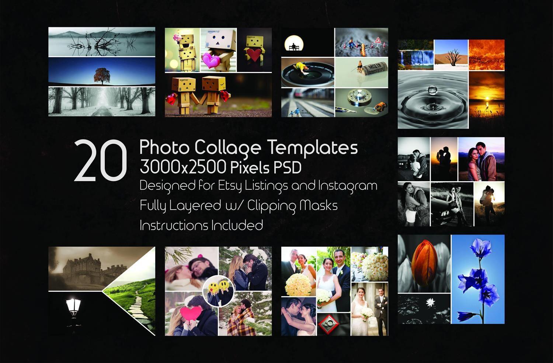 Foto-Collage-Vorlagen, 20 PSD-Vorlagen, Photoshop Collage-Vorlagen ...