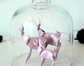 ORIGAMI Deer in Bell Jar. Glass Cloche. Woodland Gift. Baby Gift. Nursery Decor. Christmas Ornament. Family Gift. Paper Anniversary Gift.