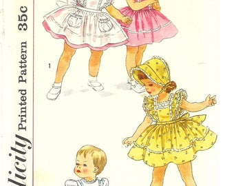 Vintage 1950's Sewing Pattern Toddlers Dress Pinafore & Bonnet Age 2