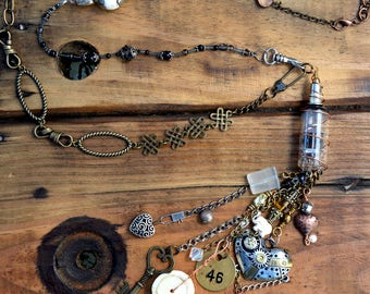 Boho Necklace, Boho Chic Necklace, Steampunk Necklace, 2SistersDreamStudio, Repurposed Necklace,Assemblage Necklace, Custom Vintage Necklace