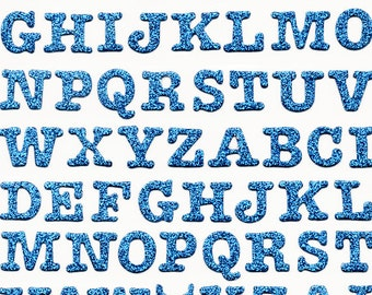 """Blue Glitter Chipboard 5/8"""" Letters Alphabet Forever in Time Scrapbook Stickers Embellishments Cardmaking Crafts"""