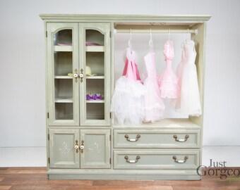 Sage Green Girl's Dress Up Closet Armoire