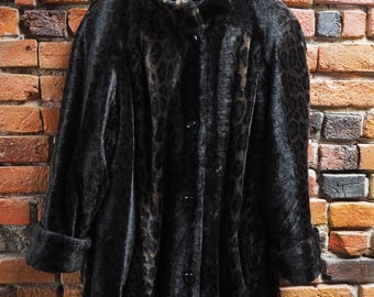 Women's 90s Dark Brown And Black Leopard Print Faux Fur Coat With High Neck Size Large