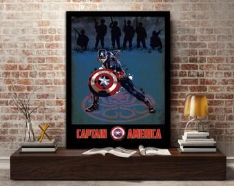 Captain America, poster, print, marvel, soldier, avenger, super, hero, gift, gift for him, gift for her, wall, art