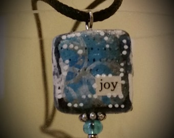 find your joy..mixed media pendant necklace