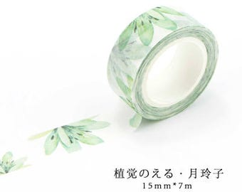 Perfect Green Japanese Washi Tape, Masking Tape, Planner Stickers,Crafting Supplies,Scraping Booking,Adhesive Tape,Floral Washi Tape
