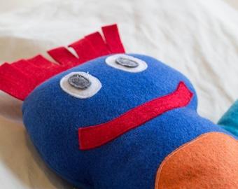 Blue Happy Monster Handmade Plushy