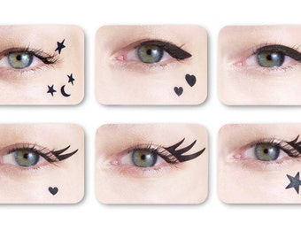 Vintage cat eye eyeliners and beauty marks: a retro 50s or 60s winged makeup look in seconds