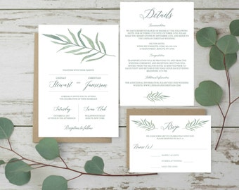 Garden Wedding Invitation Set Template Wedding Green Set Wedding Invites Printable Wedding Invitation Suite Printable Green Leaves Botanical