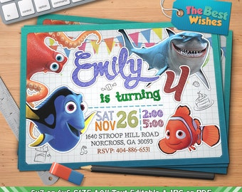 Finding Dory Invitation, Finding Nemo Invitation, Birthday Party, Personalized, Printable, Ballpoint Pen Drawing On Grid Paper, Digital File