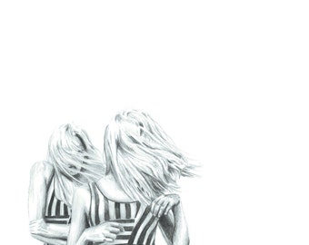 The wind in your hair - Art drawing portrait print illustration