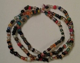 Handmade glass beads bracelet 3 strands (#14, 24, 29)