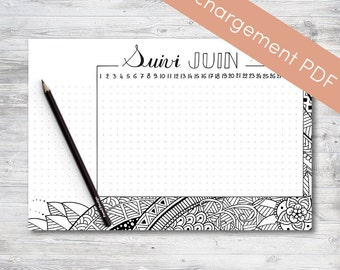 Habit Tracker Printable, June, Planner and Bullet Journal | Printable PDF