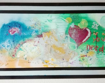 """Abstract painting in acrylic on canvas 100 x 60 cm, """"love is all you need"""" hand painted, wall decoration, modern, unique, original"""
