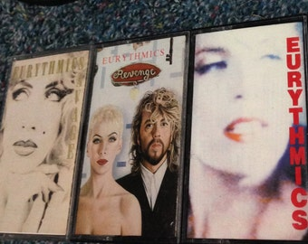 "Eurythmics (3) cassette tape lot ""Savage"", ""Be Yourself Tonight"", ""Revenge"" vintage Annie Lennox"
