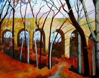 Path Under the Bridge: Wissahickon Landscape Painting