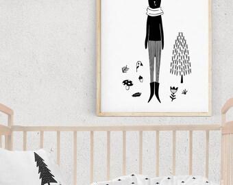 HARE Black and White Print, RABBIT Illustration, WOODLAND creature, Monochrome Bunny Baby Print, Nordic Forest Theme, Digital Art Print