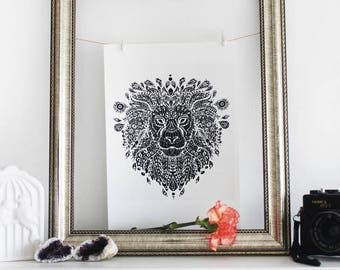 Lion Mandala - A4 Art Print -  Intricate Animal Illustration - Delicate Nature Artwork