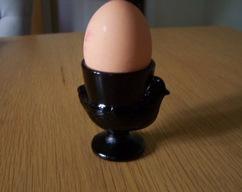 Black glass egg cup