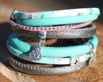 Double handmade wrap bracelet with charms and sliders