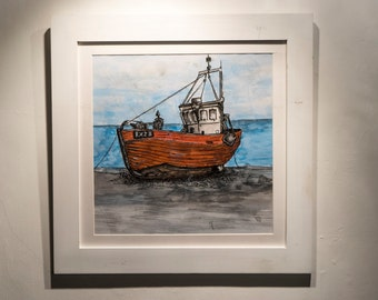 Fishing Boat Original Framed Drawing - Ink And Watercolour