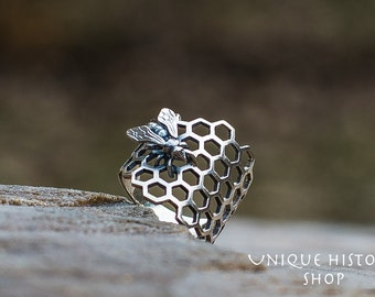 Bee with Honeycomb Ring Handmade Sterling Silver Unique Jewelry