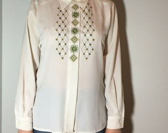 White Embroidered Shirt - Vintage clothing