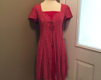 Vintage Red Daisy 70s Mini Dress