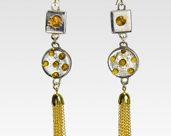Athena Silver and gold Hand made .2 oz earrings-hand painted  22 Karat gold earrings, gold tassels, gold hooks, and amber jewel accents