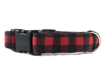 Buffalo Check Red and Black Buffalo Plaid Cat Collar - Lumberjack Dog Collar - Flannel Dog Collar - Boy Dog Collar - XS Dog Collar