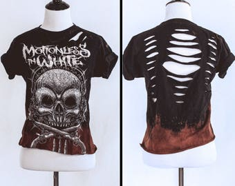 Motionless in White bleached distressed shirt - Reworked band tee