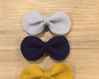 Wool Felt Pinch Clips,  Baby Bow Clip Set, Baby Bow Clips, Newborn Clips, Infant Clips, Baby Girl Clips, Baby Headbands, Newborn Headbands