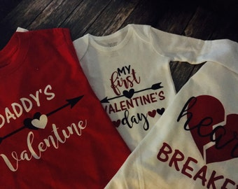 Personalized Valentine's Shirts- My First Valentine's Day, Daddy's Valentine, Heart Breaker