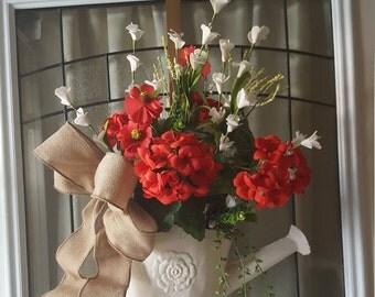 red wreath  ,summer front door wreath, summer door hanger, watering can,floral arrangement, summer floral arrangement, French country decor