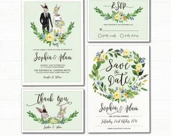 Woodland Wedding Invitation Suite. Romantic Bunny Couple. Floral Wedding Invite. Mint Green. Forest Engagement. Save the Date. RSVP. WOOD14