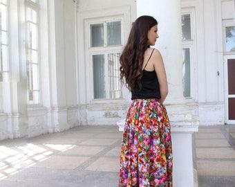 Wrap Skirt, Floral skirt, Summer skirt, Cotton skirt, Maxi skirt, Ovesize woman skirt, Flower Skirt, Boho Skirt, Gypsy skirt, Hippie skirt