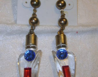 New Old Stock vintage Figurative LUCITE Perfume Bottle Dangle Earrings with Jewels - original card