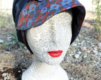 Soft silk hat, blue and Red