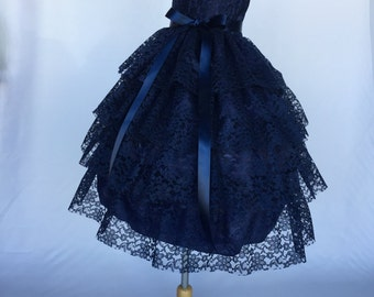 Navy Blue Lace Ruffle Flower Girl Dress Wedding Bridesmaid Christmas Holiday Pageant Recital Graduation Newborn Toddler 2 4 6 8 10 12 14