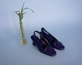 Navy Buckle Slingback Pumps / Blue Minimalist Square Toe Heels / US 6.5 / UK 4.5